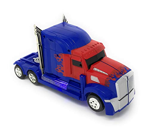 Kidsthrill Transformer Truck Toy 2 in 1 Truck | Realistic Robot - Bump and Go Action - Sounds & Colorful Lights - Blue and Red Color Combo - Compact Measurements - for Girls and Boys