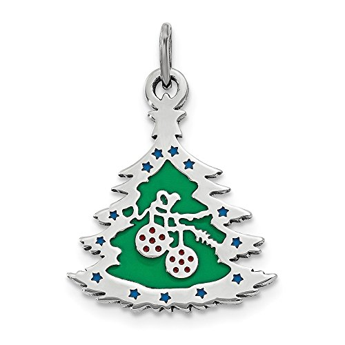 925 Sterling Silver Green Enameled Christmas Tree Pendant Charm Necklace Holiday Fine Jewelry Gifts For Women For Her