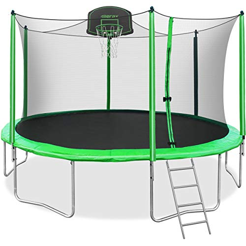 Merax 14FT Trampoline with Safety Enclosure Net, Basketball Hoop and Ladder, Trampoline for Kids (Green 14FT) (Best Trampoline Basketball Hoop)