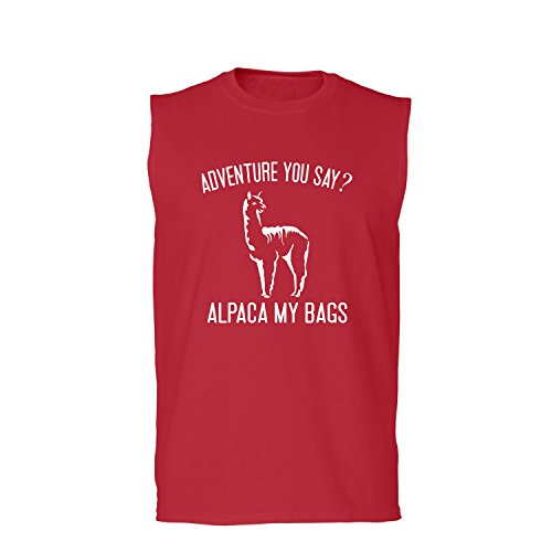 (ZeroGravitee Adventure You Say? Alpaca My Bags Adult Sleeveless In Red - X-Large)