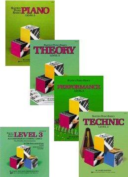 Bastien Piano Basics: Level 3 Set and CDs (4 Book, 2 CD Set, Piano, Theory, Technic, Performance Books, and Accompaniment CDs)