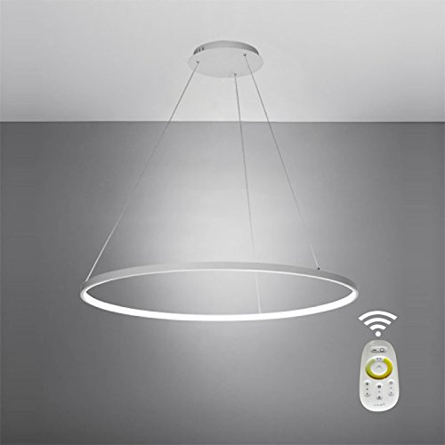 LightInTheBox Dimmable Remote Control Acrylic Chandelier Modern 80cm Cut LED Ring Pendant Light With Oval 1 Ring Max 40W Chrome Finish,Ceiling Light Fixture (White)