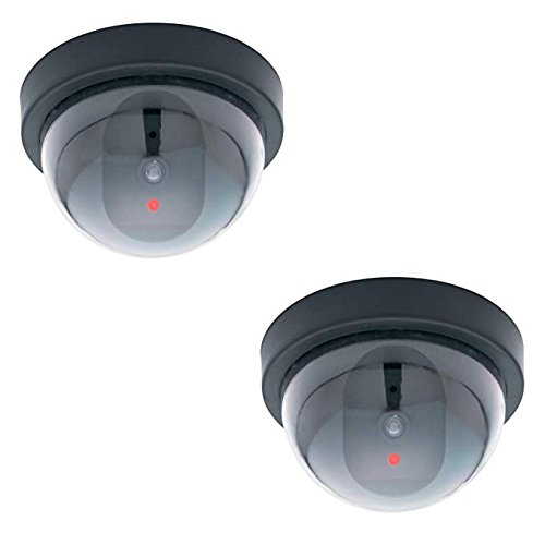 Mock Fake Security Camera 2 PACK Non Functioning Fake Dome Camera No Wiring Needed Mounting Template Included