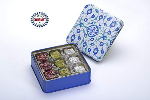 Turkish Gourmet box Mix Gift box Turkish Delight with three unique flavors Pistachio Rose Petals Double Roasted Pistachio with Powder Sugar Double Pistachio with Pomegranate 4.4 oz