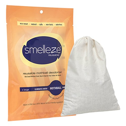 (SMELLEZE Reusable Mothball Smell Removal Deodorizer Pouch: Rids Chemical Odor Without Scents in 150 Sq. Ft.)