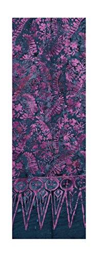 Batik Scarf - Jungle Ferns and Flowers, Purple on Blue