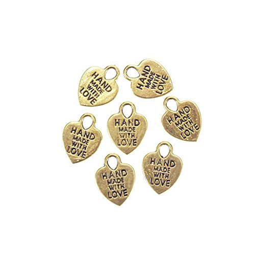 1 X 65 Hand Made With Love Gold Plated Charms