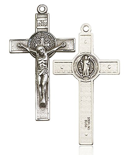 (Heartland Store Men's Sterling Silver St. Benedict Crucifix Pendant - Pendant Only)