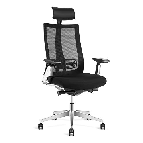 Ergonomic Adjustable Office Chair, High Back Desk Chair with Lumbar Support – Sliding Seat with 3D Armrest, Breathable Mesh, Aluminum Alloy Construction, Swivel Computer   Task Chair