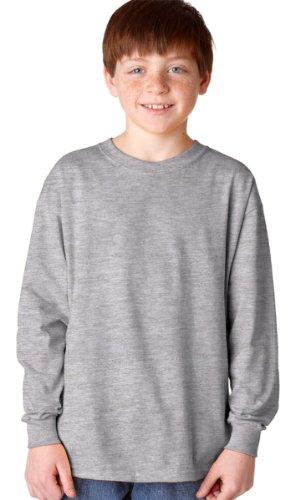 Gildan G540B Youth 5.3 oz. Heavy Cotton Long-Sleeve T-Shirt L SPORT GREY (Youth T-shirt Grey)