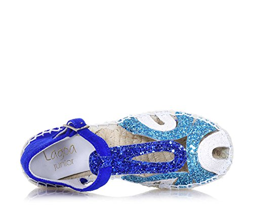 LAGOA - Blaue und hellblaue Sandale, aus Spaltleder und Glitzern, ideal für diejenigen, die ein hochwertiges Produkt, Mädchen, Damen