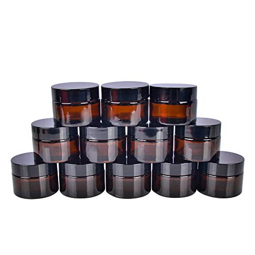 mber Glass Jars with White Inner Liners and black Lids.Glass Round Jars Prefect for Cosmetics and Face cream Lotion. ()