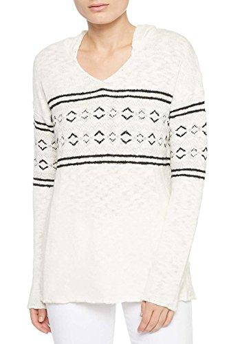 Sanctuary Hooded Fair-Isle Sweater Winter White Multi M