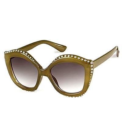 NEW Olive Green Cat Eye Sunglasses Women Designer Vintage Crystal Frame Chic Sun Glasses OM490