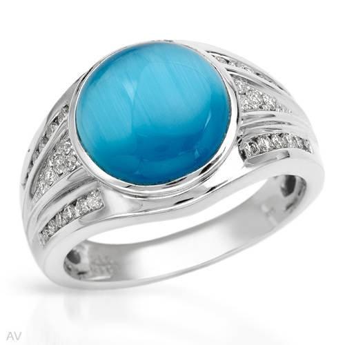 14K White Gold Blue Sapphire & Round Diamond Ring