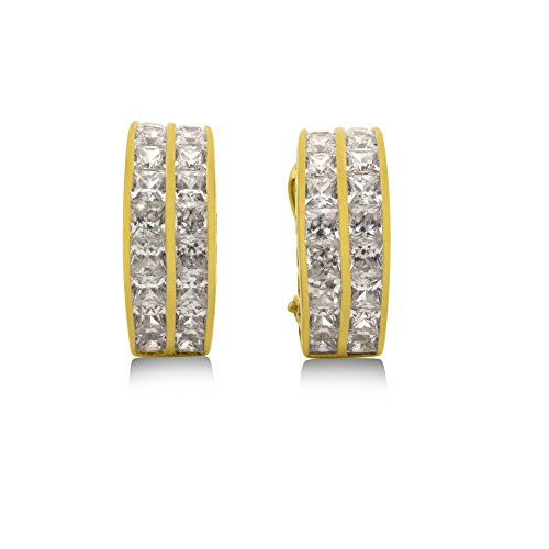 2 Row Channel Set Zircon Crystal Earrings - Premium 24K Vermeil - CORTINA - Made in America