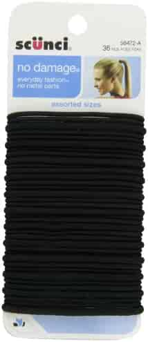 Scunci No Damage Assorted Size 4mm & 2mm Elastics, 36 Count
