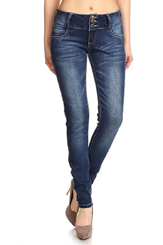Jvini Womens Classic Faded Basic Stretch Skinny Denim Jeans 002 Navy 7