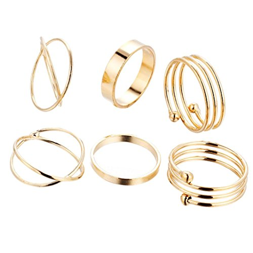Caopixx Simple 6pcs/Set Ring for Women Bohemian Vintage Silver Stack Rings Above Knuckle Rings Set (Gold, 8) (Watch Diamond Sapphire Ladies Bracelet)
