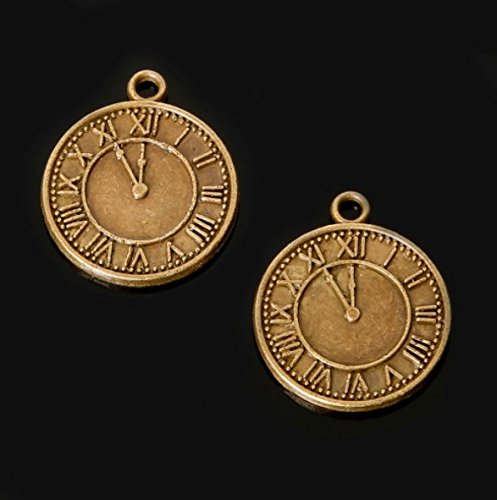 Bronze Clock Charms 18x21mm Antique Brass Metal Timepiece 24 pcs (CB071)