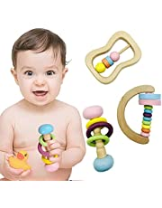 Color Wooden Baby Rattle Grip Toy (3 Piece Set), Wooden Montessori Early Education 0-2 Years Old Preschool Baby Color And Shape Recognition Set