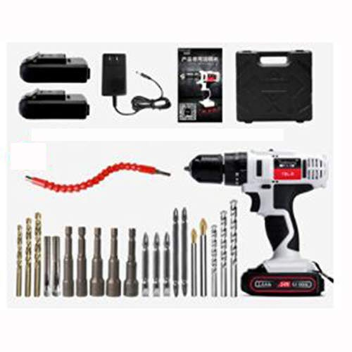 24V Electric Screwdriver Tool Home Multi-function Electric Turn Impact Lithium Electric Pistol Drill (Color : E)