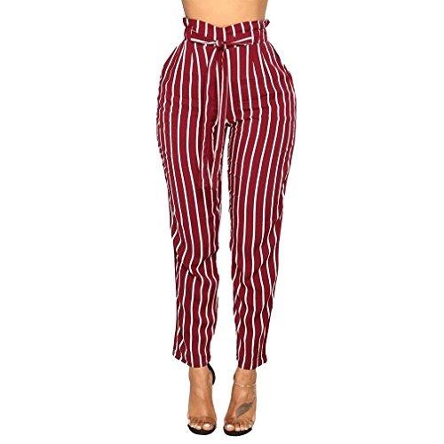 Trousers Cintura Di A Slim Cravatta Matita Marca Rot Pantaloni Strisce Farfalla Lunga Donna Anteriori Verticali Fit Primaverile Accogliente Inclusa Mode Eleganti Stoffa Tasche Moda xBqwzTI