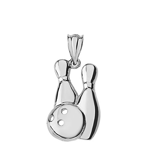 Bowling Pins and Ball Sports Charm Pendant (Sterling-Silver) ()