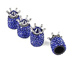 Blue Diamond Crown Rhinestone Air Valve Caps