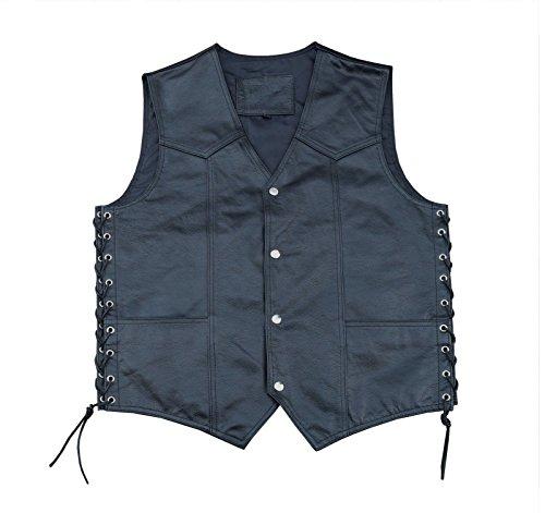 4Fit Men's Black Cowhide Leather Classic Motorcycle Side Laces Biker/Club Vest ()