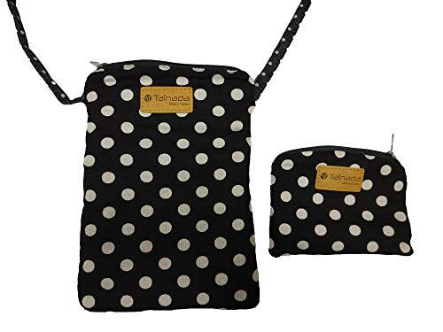 Tainada Triple Zip Roomy Crossbody Phone Travel Wallet Pouch Bag for Women + Coin Purse Set (Black White Polka Dots) ()