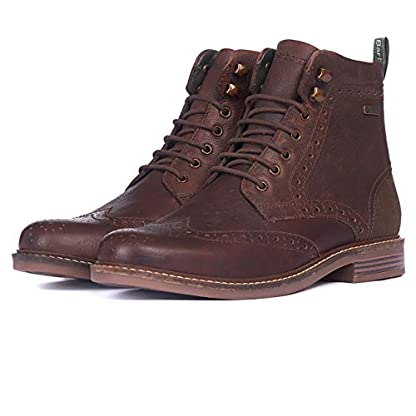 Barbour Mens Seaton Leather Walking Comfort Casual Smart Work Metal Logo Boots - Teak 1