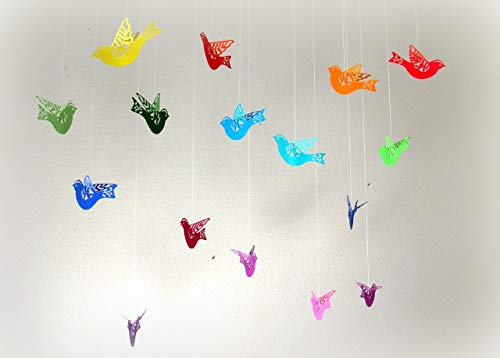 - Set of 16 rainbow colored paper flying/hanging birds/dorm room/nursery mobile/classroom decoration/birthday party decor