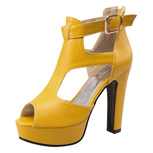 TAOFFEN Mujer Peep Toe Sandalias Moda Tacon Ancho Plataforma Tacon Alto Al Tobillo Zapatos Amarillo