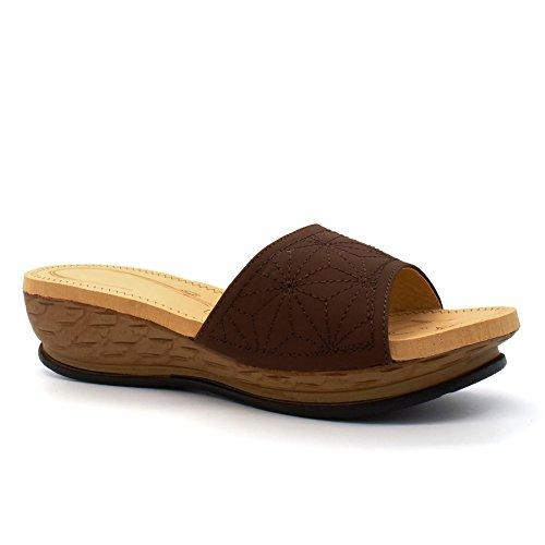 London Footwear - talón abierto mujer Marrón - marrón