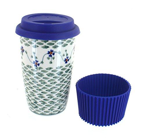 Blue Rose Polish Pottery Sage Floral Travel Coffee - Sage Coffee Mug
