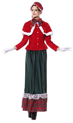 Christmas Carolers Costumes (Ecilu Women's Gorgeous Victorian Yuletide Lady Caroler Costume Green-Red Medium)