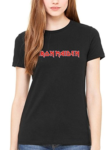AWDIP Women's Official Iron Maiden Classic Logo Women's T-Shirt Rock Heavy Metal Band Merch
