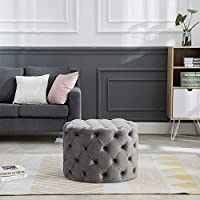 Guyou Upholstered Tufted Round Velvet Ottoman with Button, Mordern Footrest Stool Ottoman Comfy for Living Room/Hosting Room/Bedroom(Gray)