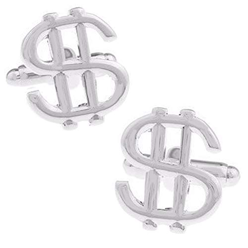 Fashion Jewelry ~ Silvertone Dollar Sign Cufflinks