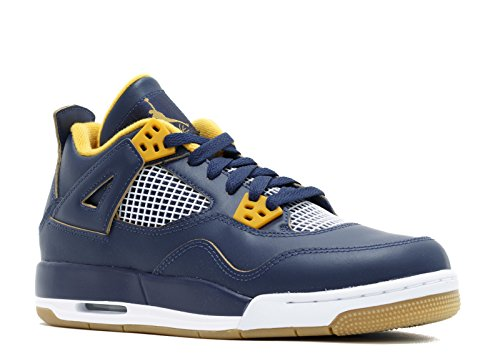Jordan Air 4 Retro BG Big Kid's Shoes Midnight Navy/Metallic Gold/Gold Leaf/White 408452-425 (4 M US)