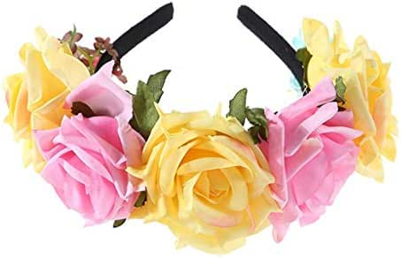 Aubbly Women's Headband Costume Rose Flower Crown Mexican Headpiece Wedding Festival Hair Garland Rose Headband