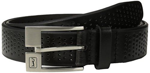 PGA TOUR Men's Perforated Leather Belt, Black, 42