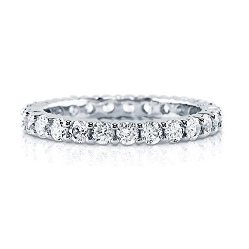 BERRICLE Rhodium Plated Sterling Silver Cubic Zirconia CZ Anniversary Eternity Band Ring Size 6 (Rhodium Plated Sterling Silver Band)