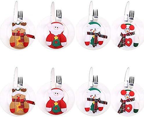 Juego de 8 piezas de cubiertos de cocina para cubiertos de plata, bolsillos, cuchillos, tenedores para decoración de Navidad con forma de muñeco de nieve