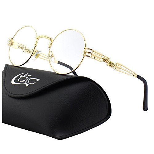 CGID E73 Retro Steampunk Style Inspired Round Metal Circle Polarized - Inspired Steampunk Fashion