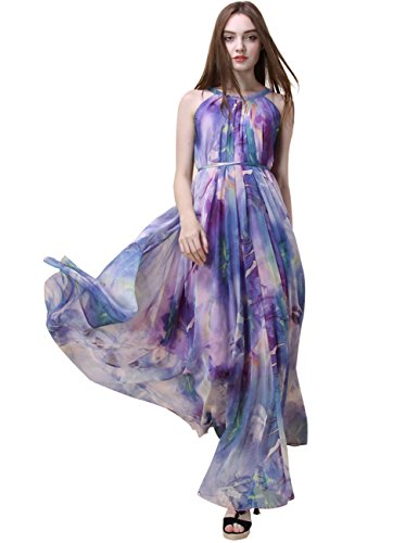 Medeshe Women's Chiffon Floral Holiday Beach Bridesmaid Maxi Dress Sundress (XX-Large, Lavender Lotus) by Medeshe
