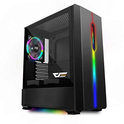 darkFlash T20 Black ATX Mid-Tower Desktop Computer Gaming Case USB 3.0 Ports Tempered Glass Windows With 1pcs 120mm LED Rainbow Fan Pre-Installed (Black)