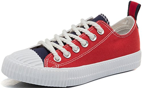 SATUKI Canvas Sneakers For Women,Flat Loafer Lace Up Casual Sports Comfort Fashion Shoes Red-blue