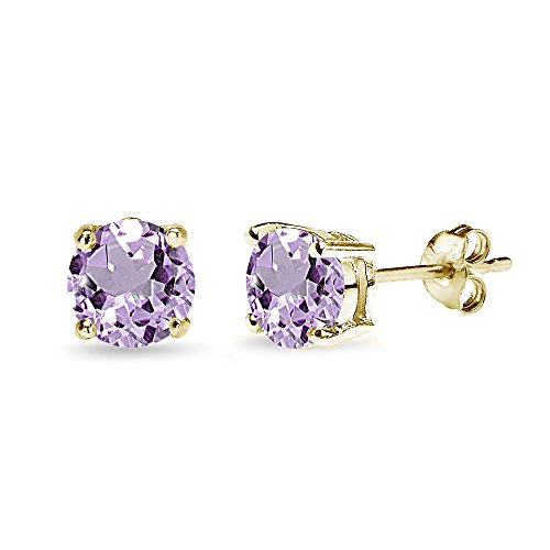 Gold Pink Amethyst Pendant - Yellow Gold Flashed Sterling Silver Amethyst 7mm Round-Cut Solitaire Stud Earrings